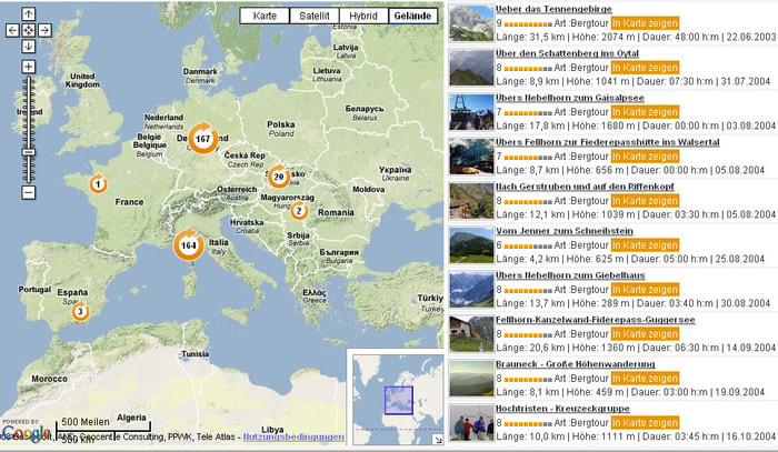 Search for tours on GPS-Tour info