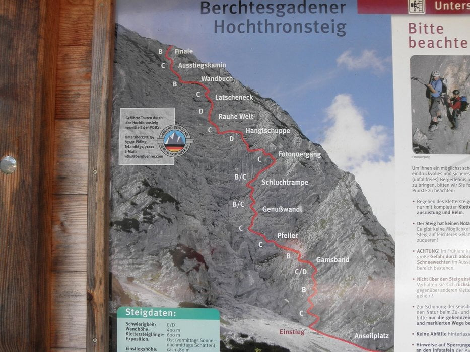 Klettersteig Map : Klettersteig berchtesgadener hochthronsteig tour
