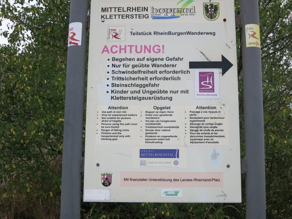 Klettersteig Pfalz : Wandern traumschleife mittelrhein klettersteig tour