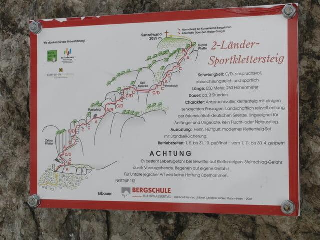 Klettersteig Karte : Klettersteig zwei länder kanzelwand tour