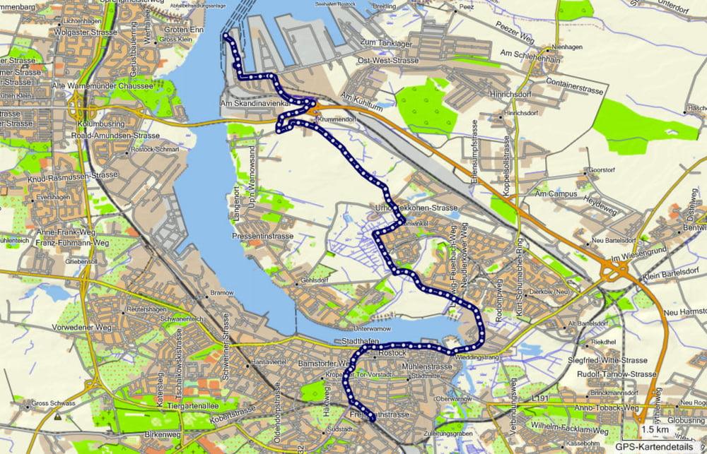 Fahrrad Touring Rostock Nordhafen bis Rostock Hauptbahnhof Tour