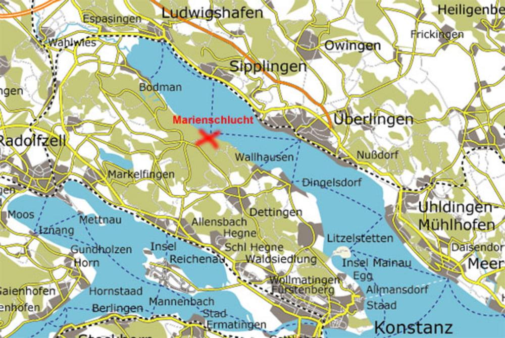 Wandern marienschlucht am bodensee tour 69673 for Bodensee karte
